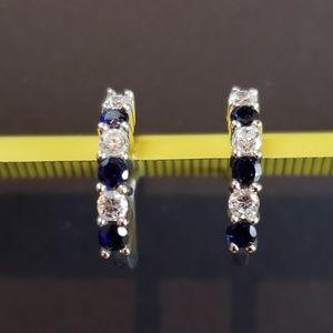 NWOT 925 Silver Created Sapphire Hoop Earrings